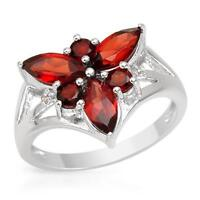 RING W/ GENUINE DIAMONDS & GARNETS CRAFTED IN STERLING SILVER