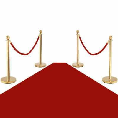 4x Stanchion Posts Queue Pole Retractable 2x Velvet Ropes Crowd Control Barrier