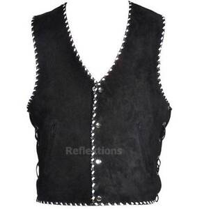 Motorcycle suede vest with studs black&white hand braided Clayton Monash Area Preview