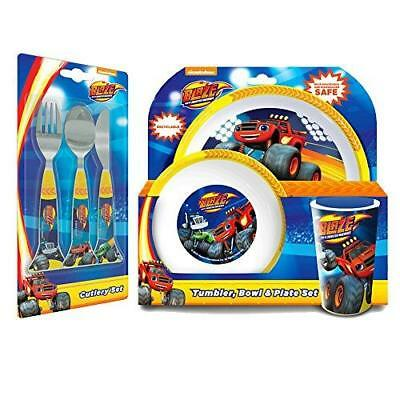 New Blaze & The Monster Machines 6 Piece Tableware Set - Cutlery Plate Bowl Cup](Monster Bowling Set)