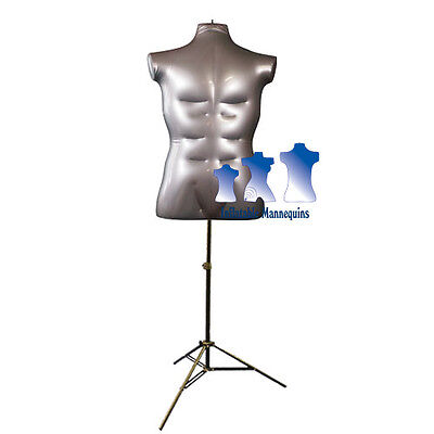 Inflatable Male Torso Large With Ms12 Stand Silver