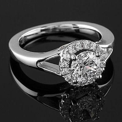 1 Ct D/VS2 Round Cut Diamond Engagement Ring 14K White Gold Enhanced