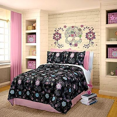 Veratex Rainbow Skulls Comforter Set Queen Black  New