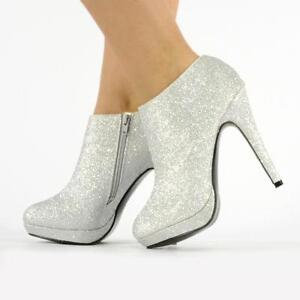 silver boots ebay