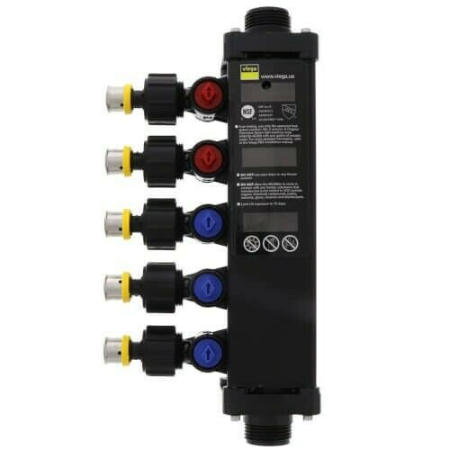 "VIEGA 49453 1/2"", 5 Port Zero Lead PEX Press Polymer Dual Temperature MiniBloc ("