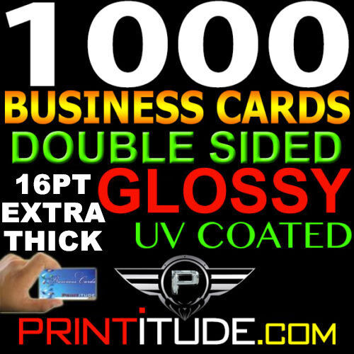 1000 FULL COLOR BUSINESS CARDS W/ YOUR ARTWORK READY TO PRINT 2 SIDED 16pt GLOSS