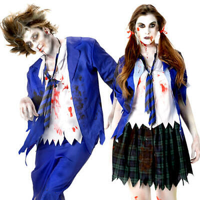 School Girl Halloween Costumes For Adults ( Zombie School Girl or Boy Halloween Fancy Dress Adults Mens Ladies Costumes)