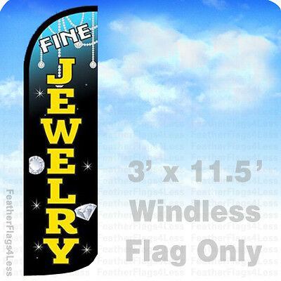 Fine Jewelry Windless Swooper Feather Flag Banner Sign 3x11.5 - Kq