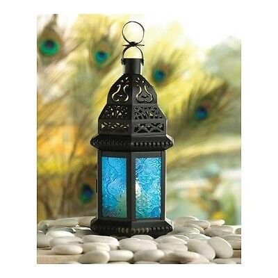 - Lantern Candle Holder Exotic Moroccan Blue Glass Outdoor Garden Patio Home Decor