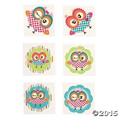72 Owl Bird Temporary Tattoos Kids Birthday Party Favors Novelty Gifts