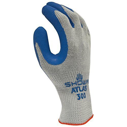 12 Pair/1 Doz Atlas Fit Natural Rubber Coated Gloves Showa 300 Size: Medium