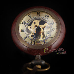 Vintage-Pocket-Watch-Necklace-Glass-Ball-Wooden-Gift