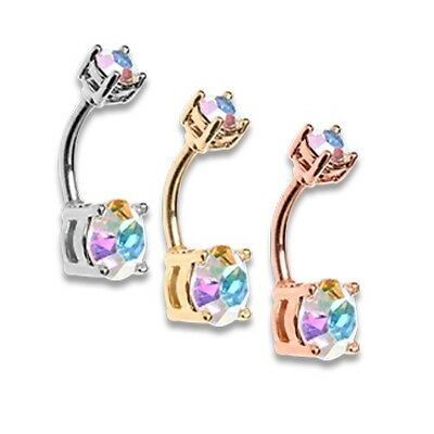 Rose Gold Aurora Sparkle Brilliant Gem Silver AB Prong Set Belly Ring Sexy (Gem Sparkle Belly Ring)