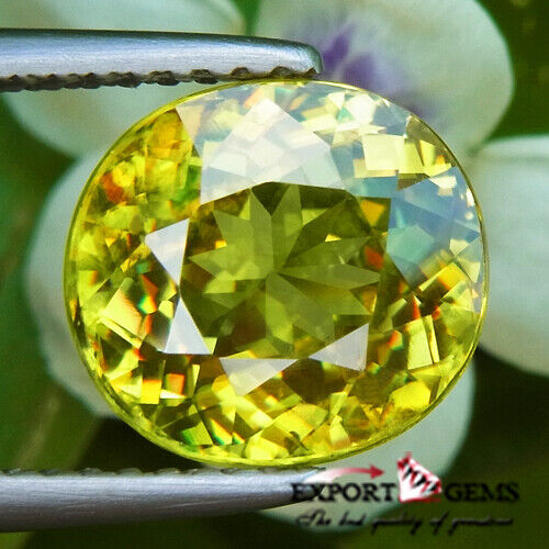 UNHEATED 3.60 CT NATURAL YELLOW OVAL SPHENE