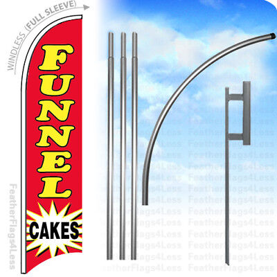 FUNNEL CAKES - Windless Swooper Flag KIT 15' Feather Banner Sign - rb