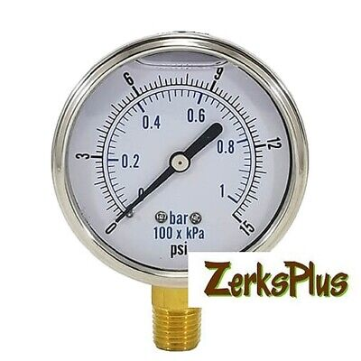 Liquid Filled 2-12 Pressure Guage Stainless Case Lower Mount 0-15psi