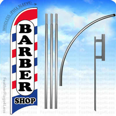 Barber Shop - Windless Swooper Flag Kit 15 Feather Banner Sign Wb
