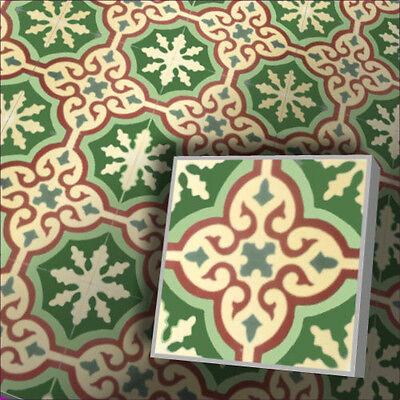 Creme Bodenfliese (echte Zementfliese orientalische Fliese Vintage Handarbeit Dekor creme grün bunt)