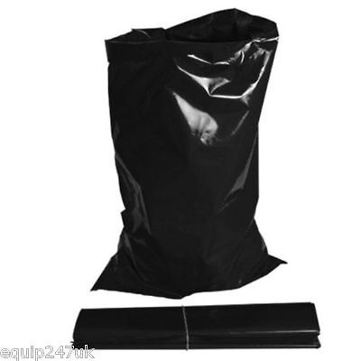200 x EXTRA HEAVY DUTY BLACK RUBBLE BAGS/SACKS BUILDERS 30kg MAX STRENGTH