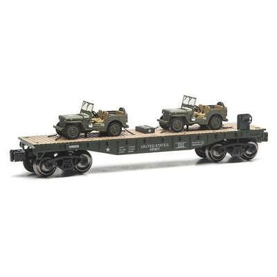 Set of 4 Realistic O Gauge Military Train Flatcar 2 US Army Jeeps Dealer Pack