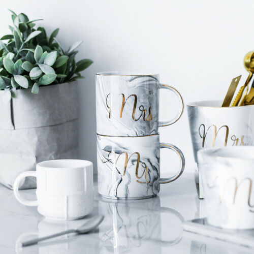 Marble Patterned Ceramic Letter Mug Cup Couple Coffee Cup Ki