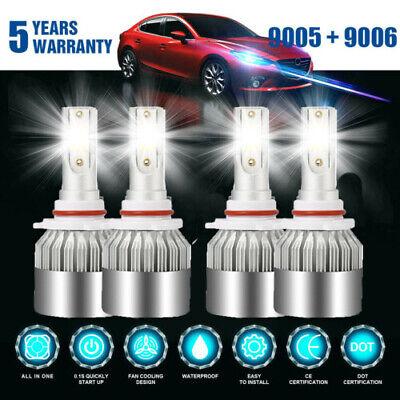 4PCS Combo 9005 9006 LED Headlight Bulbs Kit High & Low Beam 144W 8000K White US