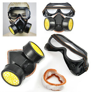 2pc-Spray-Paint-Twin-Cartridge-Respirator-Mask-Goggles-Paint-Kit-Fumes-Kept-Out