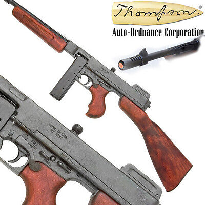 "Replica THOMPSON ""TOMMY GUN"" Military  S.M.G. SUB-MACHINE GUN DENIX NON-FIRING"