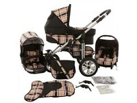 Lux4Kids 3 in 1 Dino travel system, red check material, in good condition