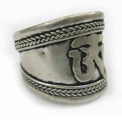 Big Vintage Adjustable Tibetan Delicately Carved Mantra OM Weaving Amulet Ring