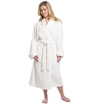 Womens White Terry Bathrobe Large XL  Bamboo Cotton Soft Full Length Spa Robe Bamboo Terry Robe