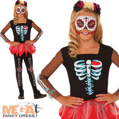 Scared To The Bone Girls Halloween Fancy Dress Day Of The Dead Childrens - Scared Children Halloween