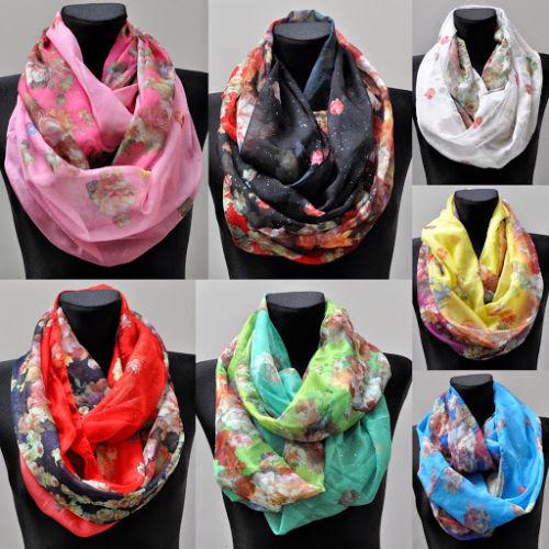 Loop-Schal Seide Seidentuch Halstuch Tuch Schlauchschal Damen Muster Blumen bunt