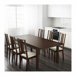 BJURSTA Extendable Dining table + 8 Chairs (DARK BROWN)