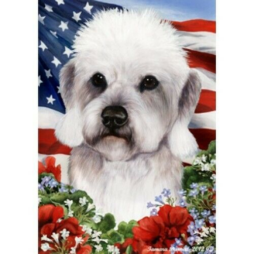 Patriotic (1) House Flag - Pepper Dandie Dinmont Terrier 16211