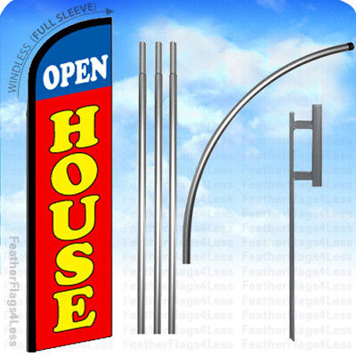 Open House - Windless Swooper Flag 15 Kit Feather Banner Sign - Rf