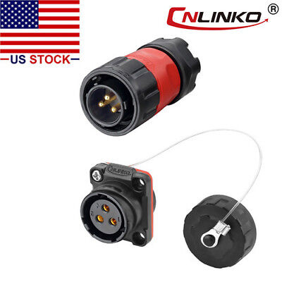 3 Pin Power Connector Male Plug Female Socket Outdoor Waterproof Ip67 Ac Dc