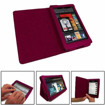 Faux Leather Pink Folio Book Wallet Stand Case Cover for Amazon Kindle Fire 7