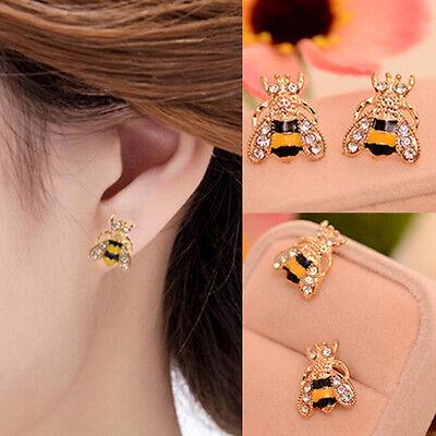 Lovely Rhinestone Bumble Bee Crystal Animal Ear Stud Earrings Jewelry Gift  - Bumble Bee Ears
