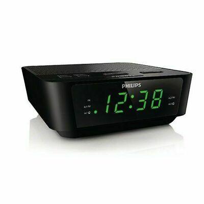 Philips AJ3116M37 FM Alarm Clock Radio - Black EUC FAST SHIP USA SELLER Office