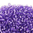 Purple Round Silver Jewelry Making Beads