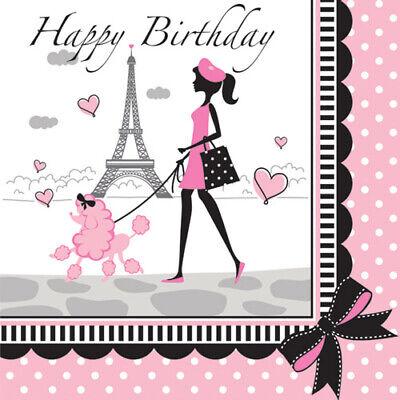 HAPPY BIRTHDAY Party in Paris LUNCH NAPKINS (16) ~ Supplies Large Serviettes - Paris Birthday Supplies