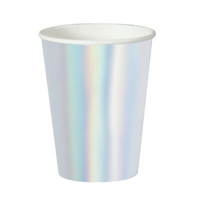 SILVER IRIDESCENT 12oz PAPER CUPS (8) ~ Wedding Shower Party Supplies Beverage - Iridescent Paper