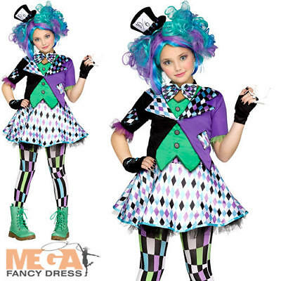 Mad Hatter Girls Fancy Dress World Book Day Fairytale Kids Childrens Costume New (Mad Hatter Girls Costume)