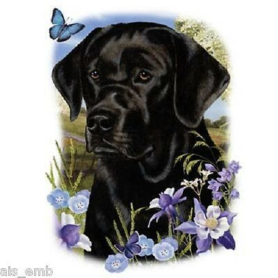 Black Lab Dog Floral Heat Press Transfer Print For Shirt Sweatshirt Fabric 872a