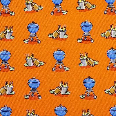 BIRD DOG BAY Orange Blue BBQ FOOTBALL BEER Handmade Silk Tie EUC