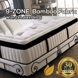 Brand New 9-Zone Pocket Spring Eurotop Mattress, with Bamboo cove
