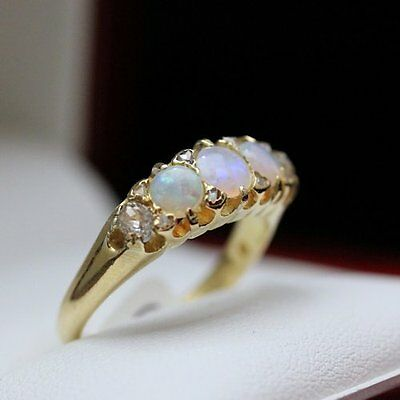 1920s Antique ring with Fiery Opal and beautiful old cut Diamonds set in 18ct go