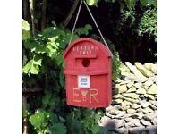 Novelty Red Letter Post Box Bird House Hatching & Nesting for Small Garden Birds £15