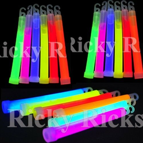 """12 Thick 6"""" Glow Sticks Fat Party Necklaces Light Lanyard Fa"""
